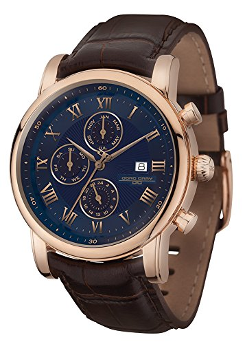 Jorg Gray Swiss Multifunction GMT Rose Gold Case Blue Dial Brown Leather Band Men's Watch JG7600-33