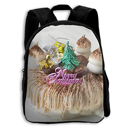 Liumong Funny Christmas Mont Blanc Cake Children Multi-Function Mini Casual Outdoor Travel Book Middle School Backpack 13 Laptop Computer Bag Pocket Zipper