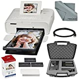 Canon SELPHY CP1200 Wireless Compact Photo Printer (White) Bundle with Case + Cable + Cloth + Color Ink & Paper + FiberTique Cloth