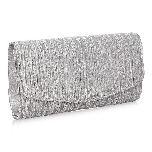 en Sac Enveloppe Pochette à Satin Pochette Paillettes Silver de Plissé main Clutch iShine Soirée en Femme RIvwxvqg