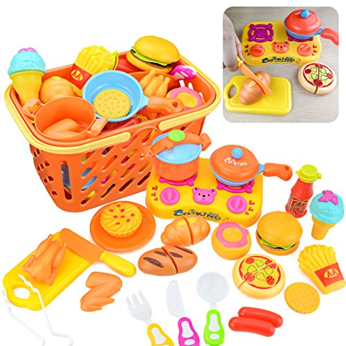 Play Food, PeleusTech 24Pcs Kids Pretend Play Grocery Shopping Play Toy Food Set, Fruit and Vegetable with Shopping Basket
