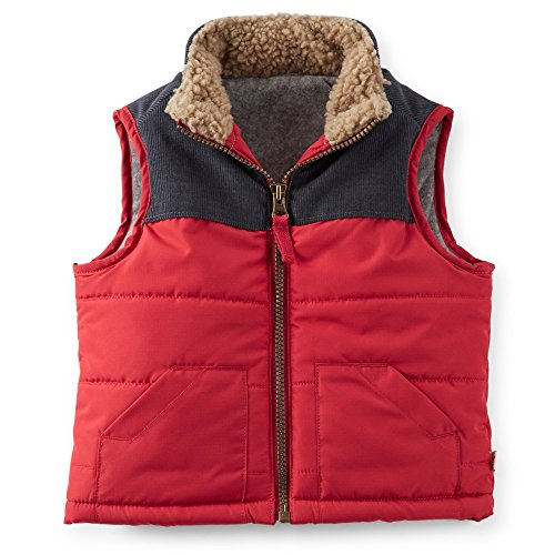 Carter's Baby Boy's Ripstop and Corduroy Vest Red (9 Months)