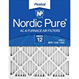 Nordic Pure 20x21_1/2x1 Exact MERV 12 Pleated AC Furnace Air Filters 2 Pack