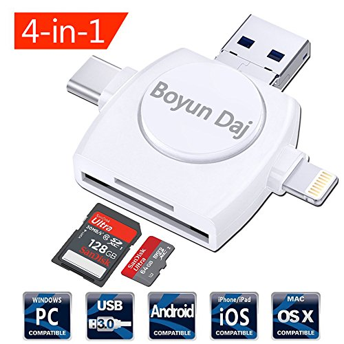 Micro SD Card Reader 4-in-1,Boyun Daj TF Memory Card Camera Reader Adapter for iPhone/iPad/Android/Mac/PC/MacBook pro. With Lightning/Micro USB/Type C/USB 3.0 Connector
