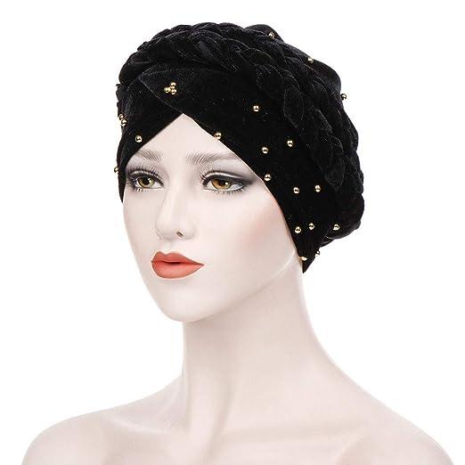 Women Elegant Beaded Beanie Hat Ladies Twist Knot Velvet Cancer Chemo Hat  Cap Turban Head Wrap 67c89bbc2f65
