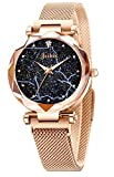 Jechin Fashion Women's Starry Sky Watch Rose Gold Magnetic Bracelet Watches for Woman