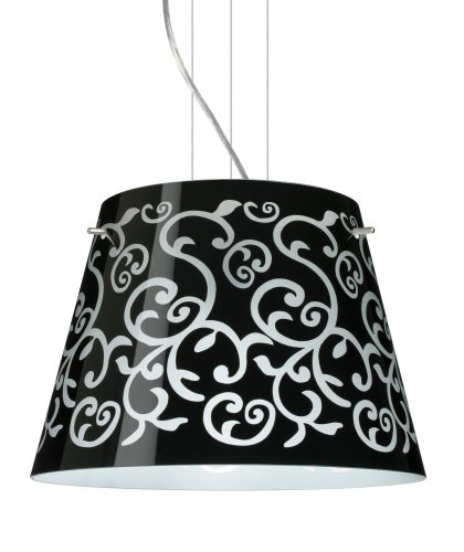 Besa Lighting 1KV-4340BD-LED-SN 3X6W GU24 Amelia 15 LED Pendant with Black Damask Glass, Satin Nickel - Satin Amelia Led Sn