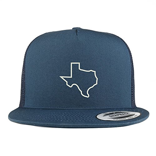 Blue Outline Panel (Trendy Apparel Shop Texas State Outline Embroidered 5 Panel Flat Bill Trucker Mesh Back Cap - Navy)