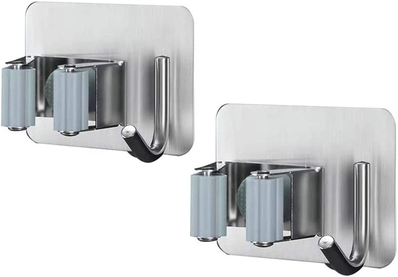 Broom and Mop Holder Wall Mounted, 304 Metal Stainless Steel Broom Holder Organizers and Storage, Utility Storage Rack Heavy Duty Tools Hanger for Bathroom Kitchen Office Closet & Garden(2 Pack)