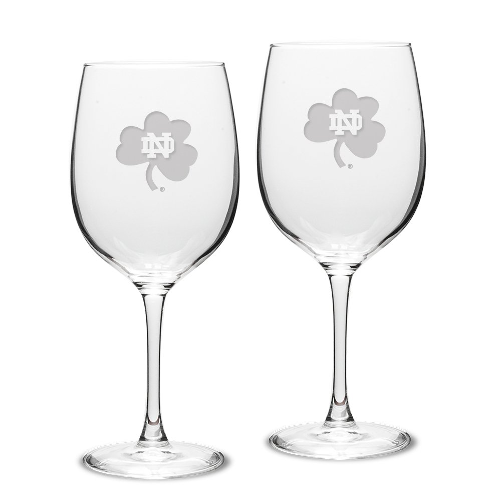 University Glass NCAA Notre Dame Fighting Irish Adult Set of 2-19 oz Robusto Red Wine Glasses Deep Etch Engraved, One Size, Clear
