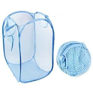 LUQUAN Laundry Folding Square Basket Pop Up Hamper Clothes Storage Bin White Mesh Fabric