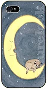 For Iphone 5C Case Cover Case Dog sleeping with moon - black plastic case / dog, animals, dogs