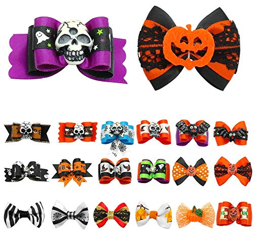 (HAVIPRO 20 pcs Dog Hair Bows Halloween Pet Cat Dog Hair Bows Grooming Dog Accessories for Puppy Chihuahua)