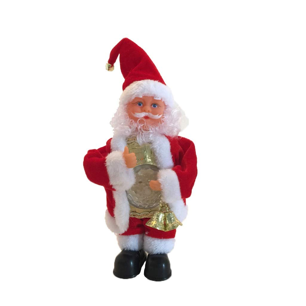CreazyBee Christmas Dolls 2019 Christmas Electric Dancing Music Santa Claus Doll with LED Belly Christmas Decorations Home Gift Kids (Santa + Light) (Multicolor) by CreazyBee