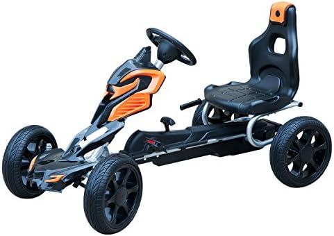 HOMCOM Kart à pédales Go-Kart Enfants 122L x 60l x 70H cm Ø Roues 29 cm siège Ergonomique Orange Noir