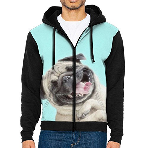 Happy Pug In Costume (Pug Happy Men's Pullover Hooded Print Sweatshirt With Pockets)