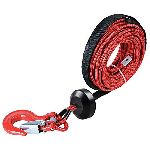 Red Stopper - Astra Depot 50' x 1/4 RED 7000lbs Strong Synthetic Winch Rope Rock and All Heat Guard + Rubber Stopper + Red Heavy Duty Half-Linked Hook For Jeep Truck ATV UTV KFI