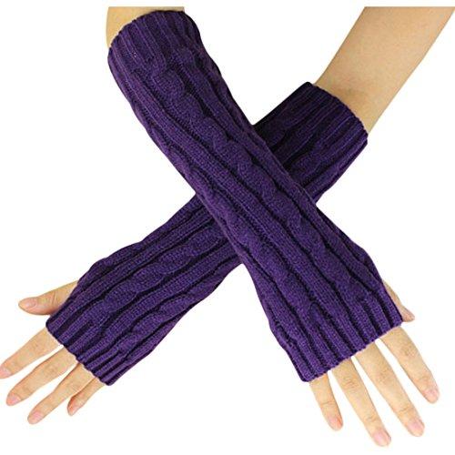 Women Men Mitten - SODIAL(R)Fashion Winter Women Men Gloves Unisex Arm Warmer Long Fingerless knit Mitten purple