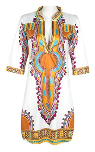 Women Bohemian V Neck Vintage Printed Ethnic Style Summer Shift Dress S (Teen Christmas Dress)