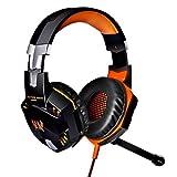 KOTION EACH G2000 Over-ear Game Headset Earphone Headband w/ Mic Stereo Bass LED Light for PC - Orange