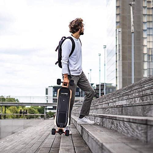 YVSoo Skateboard Électrique Longboard Électrique de 4 Niveaux de Vitesse Autonomie 30km