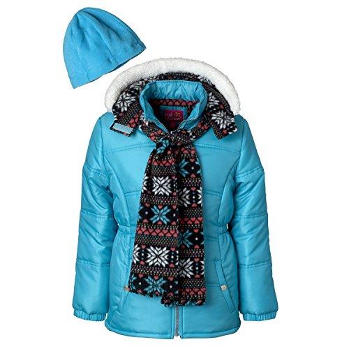 Pink Platinum Girls Puffer Jacket Set with Hat & Scarf – Snowflake Print (Platinum Flakes)
