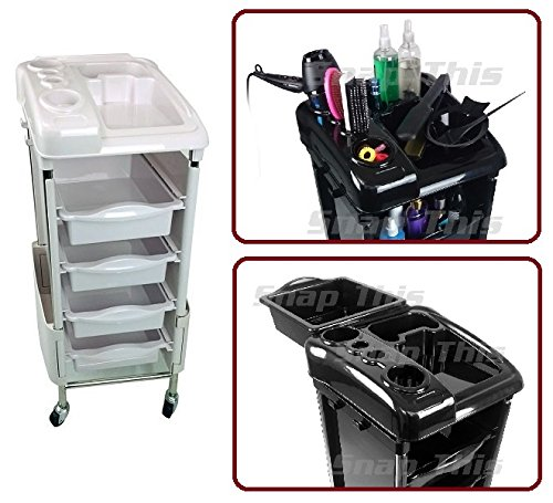 TekNoh Luxure - White - Salon Storage Trolley - Hairdresser Barber Hair Beauty Drawers Spa Cart ST-LUX-W