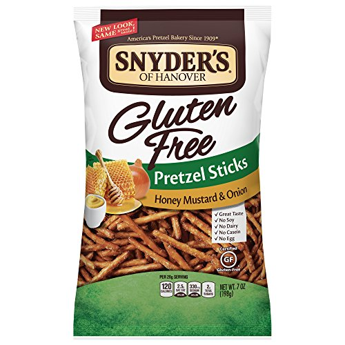 Snyder's of Hanover Gluten Free Honey Mustard and Onion Pretzel Sticks, 7 Ounce, Pack of 12