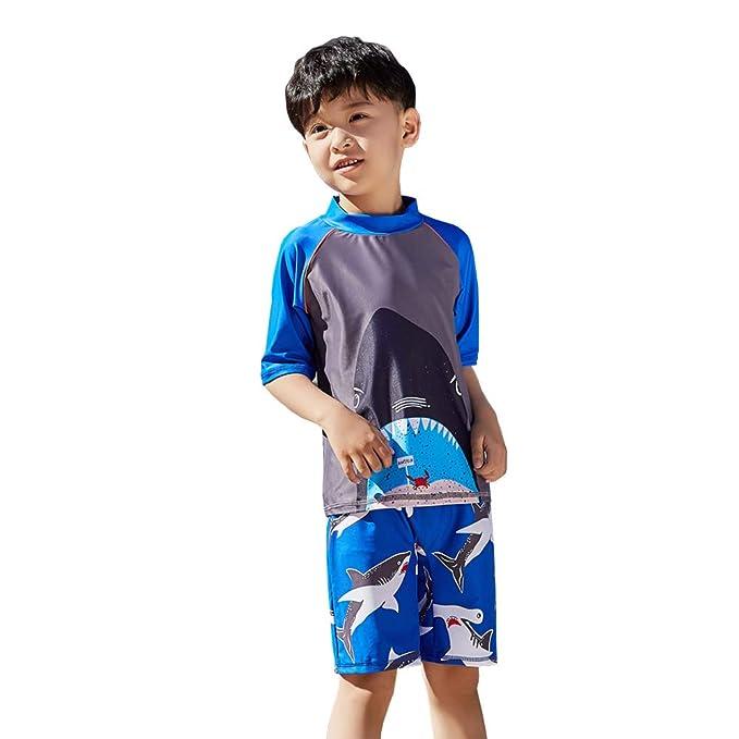 cd0404f6096 Digirlsor Toddler Kids Boys Two Piece Rash Guard Swimsuit Bathing Suit UPF  50+ Beach Swimwear
