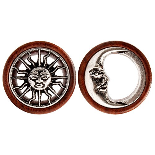 KUBOOZ New Tribal Sun & Moon Organic Natural Wooden Flesh Tunnels Double Flared Ear Stretcher Saddle Plug 18mm