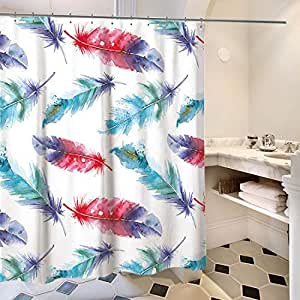 FEOYA Feather Shower Curtain House Decor Illustration of Feathers Decorations for Home Print Rings Included 71 × 71 inch