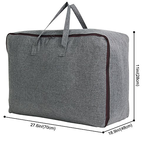 Lifewit Water Resistant Thick Large Capacity Storage Bag, Folding Linen Storage Organizer Bags, Under Bed Storage, College Carrying Bag for Bedding Comforters, Blanket, Clothes, 100L, Grey by Lifewit (Image #1)