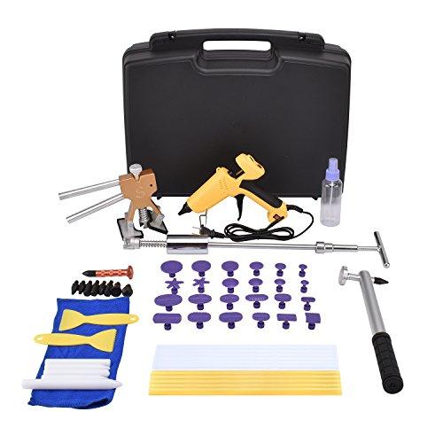 HOTPDR Dent Removal Tools Paintless Dent Repair Tools Kit Bridge Dent Puller Kits with Hot Melt Glue Gun PDR Tool for Car Dent Puller(58PCS)