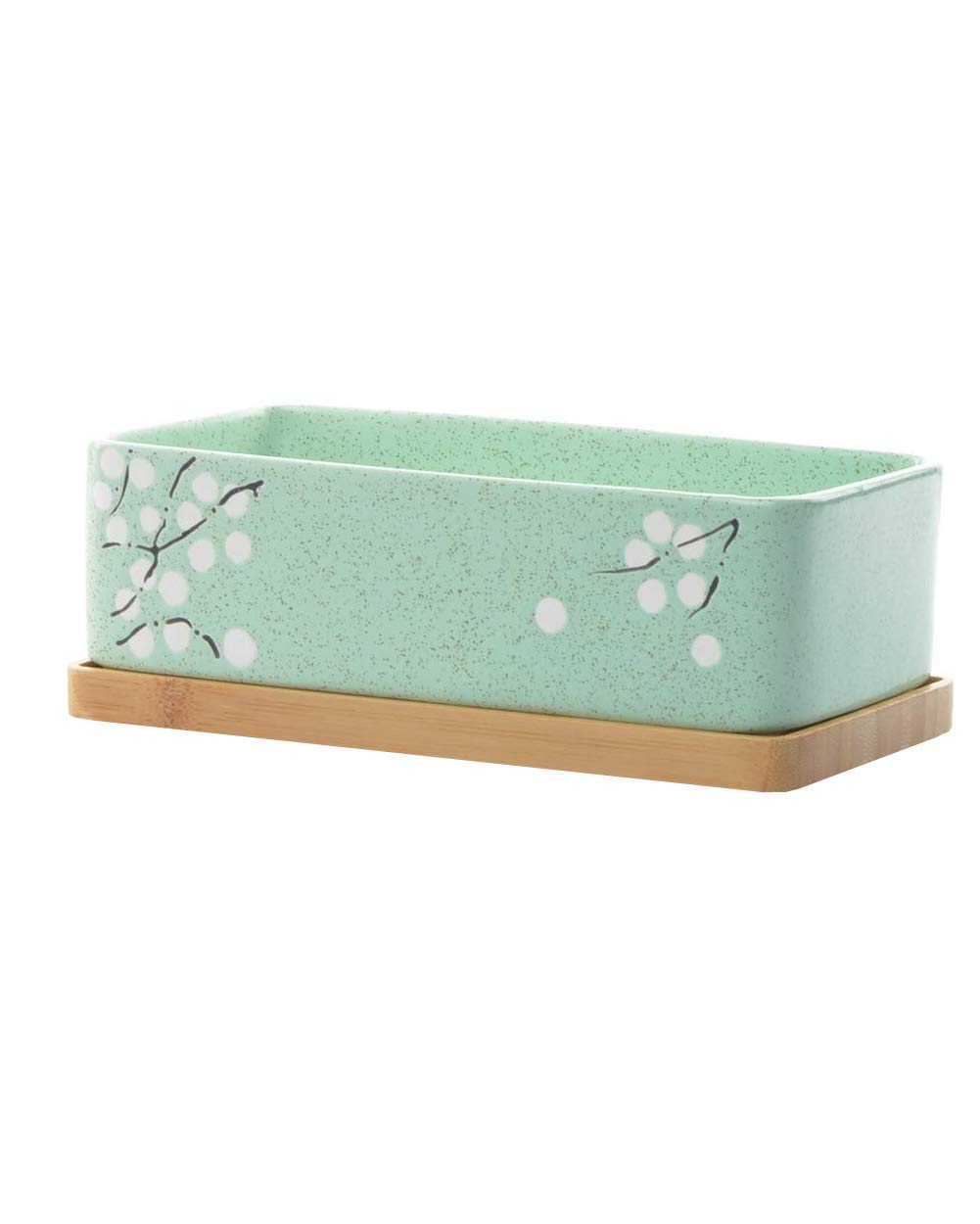 GardenBasix Ceramic Window Sill Planter Box Rectangle Flower Pot for Indoor Succulents Tabletop Decoration 1, Green with Tray