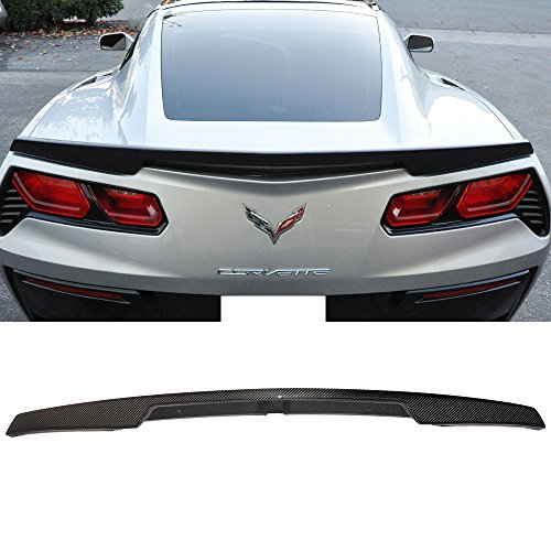 Trunk Spoiler Fits 2014-2018 Chevy Corvette C7 | Z51 Package Style Unpainted ABS Car Exterior Rear Spoiler Wing Tail Roof Top Lid by IKON MOTORSPORTS | 2015 2016