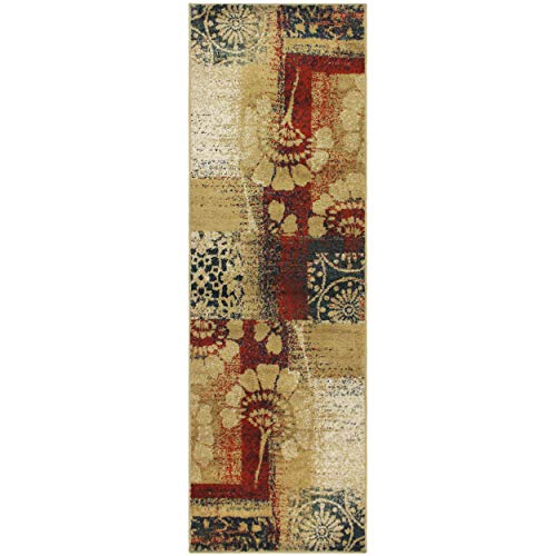 Superior Patchwork Collection Area Rug, Floral and Geometric Patchwork Design, 10mm Pile Height with Jute Backing, Affordable Contemporary Rugs - 27 x 8 Runner