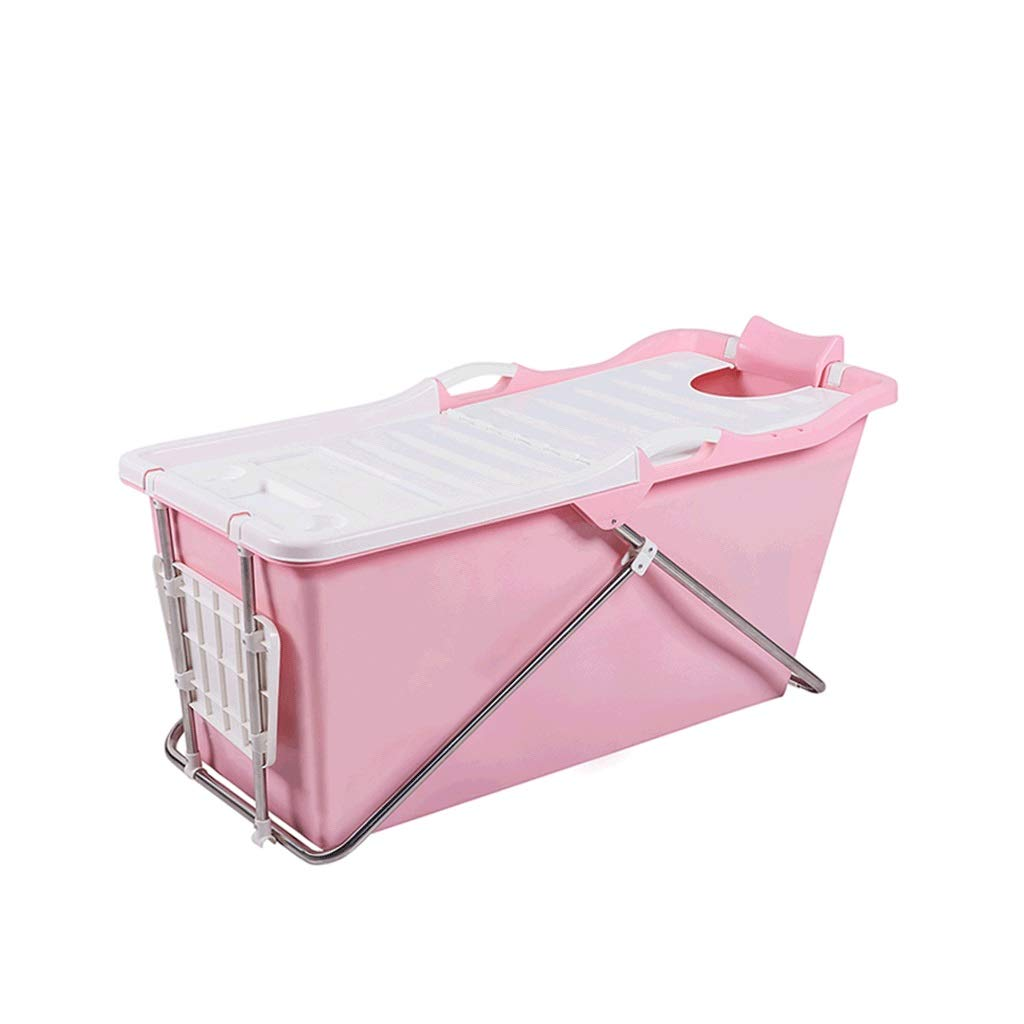 Bath tub Adult Bathtub Foldable Bathtub Bathtub Bathtub Household Plastic Bathtub Tub Tub Thickened With Lid 2 Color (Color : Pink)
