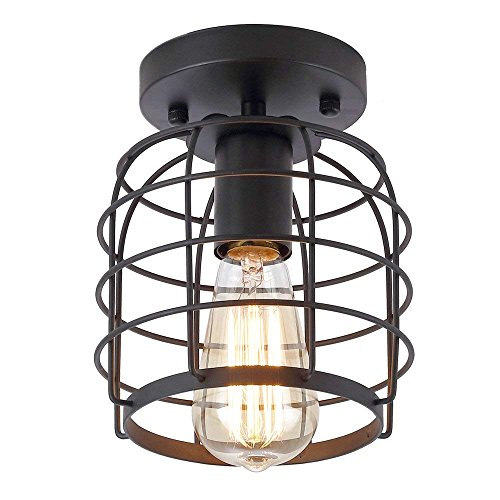 Create For Life Industrial Vintage Rustic Semi Flush Mount