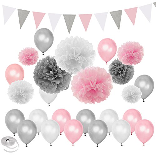 Pink Silver White Themed Baby Shower Party Decorations Wedding Birthday Supplies—Balloons Paper Pom Poms and Triangle - Silver And Pink