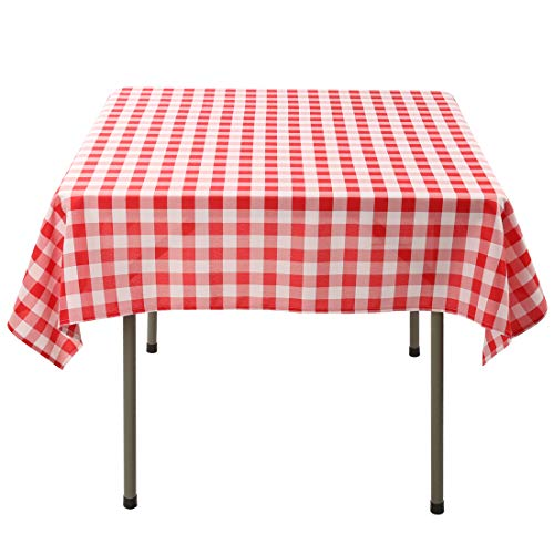 Waysle 54 x 54-Inch Square Tablecloth, 100% Polyester Washable Table Cloth for Square or Round Table, Red and White -