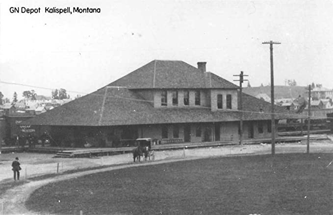 Kalispell Montana aerial view Great Northern train depot real photo