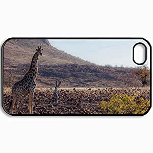 Personalized Protective Hardshell Back Hardcover For iPhone 4/4S, Giraffe Design In Black Case Color