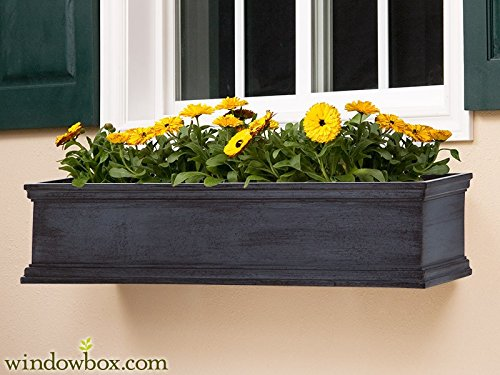 72in. Lancaster Fiberglass Window Box in Distressed Pewter by Windowbox