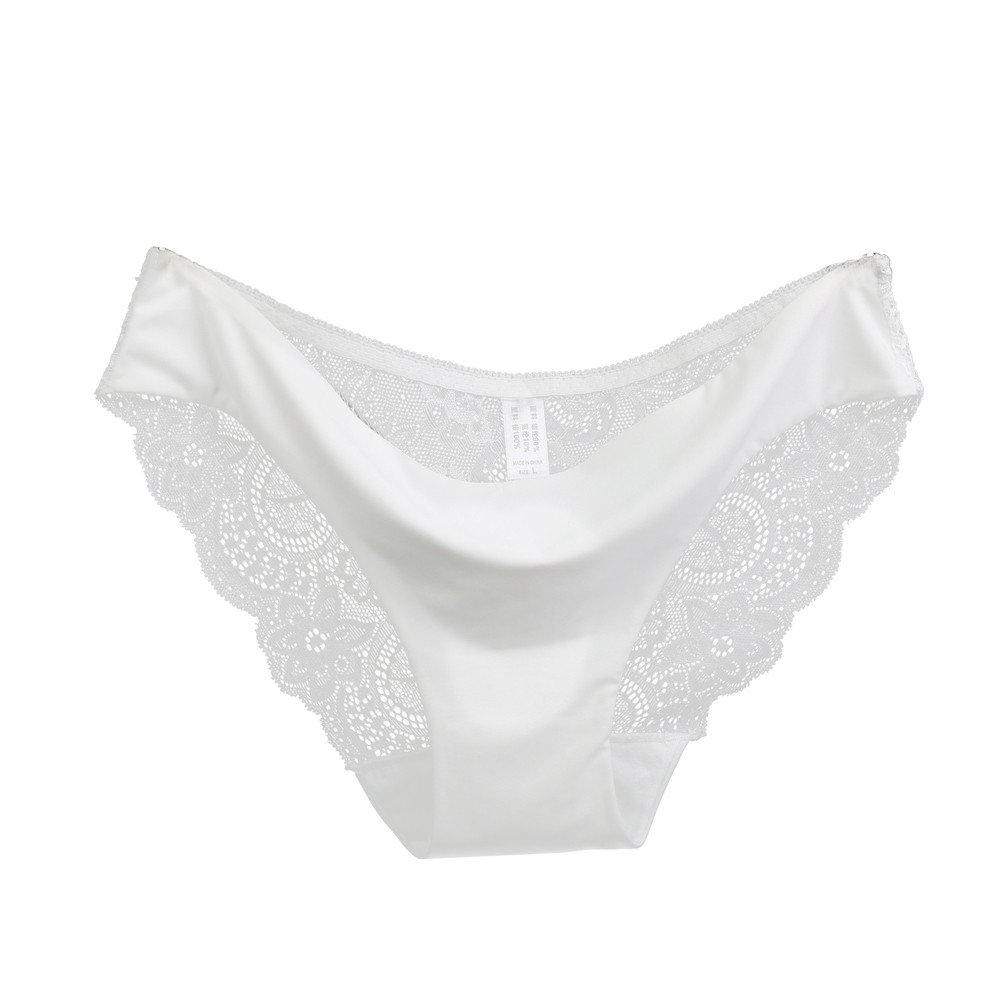 YFancy Women Sexy Fashion lace Panties Seamless Cotton Panty Hollow Floral Briefs Underwear Low Waist One Piece White