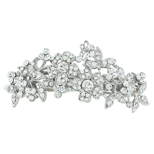 EVER FAITH Womens Wedding Flower Cluster Hair Barrette Clear Austrian Crystal Silver-Tone