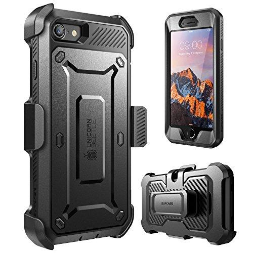 iPhone 7 (4.7) (2016) Hülle, SUPCASE Unicorn Beetle PRO Series Schutzhülle mit eingebauter Displayschutzfolie + Case mit Gürtel-Clip Holster / Trageclip (schwarz/schwarz)