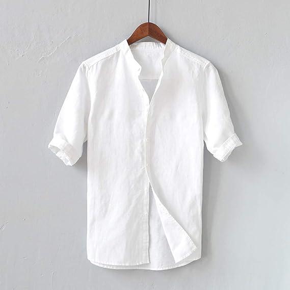 Walaka 2019 - Camisa de Manga Corta para Hombre, de Lino Blanco M: Amazon.es: Ropa y accesorios