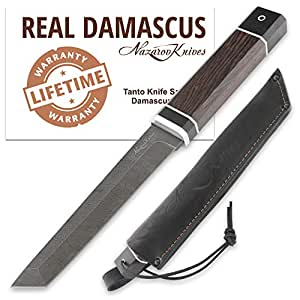 Tanto Knife - Cuchillo Real Damasco Tanto - Madera de wengué ...