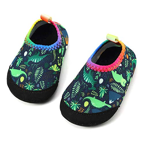 Panda Software Baby Boys Girls Water Shoes Infant Barefoot Quick -Dry Anti- Slip Aqua Sock for Beach Swim Pool Green-Dinosaur/24-28 Months Infant -