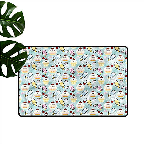 DUCKIL Interesting Doormat Ice Cream Cupcake Faces Quick and Easy to Clean W35 xL59 -